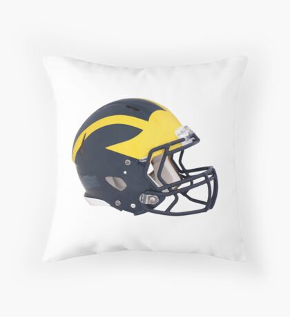 Wolverines Winged Football Helmet Throw Pillow