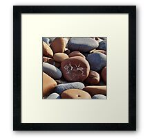 Gray and Brown Beach Stones Framed Print