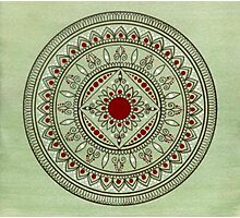 Hand Drawn Green And Red Mandala Photographic Print