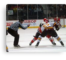 Dropping the Puck Canvas Print