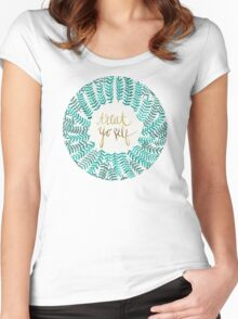 Treat Yo Self – Turquoise Women's Fitted Scoop T-Shirt
