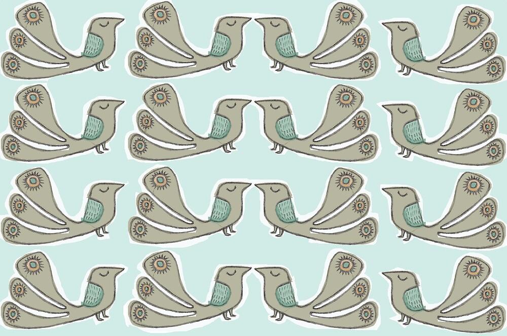 quirkybird repeat aqua by Jo Cave  (cavecorner)