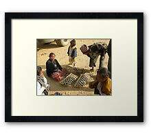 a rural marketplace in Terathum district Framed Print