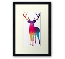 Modern Geometric Colorful Reindeer Framed Print