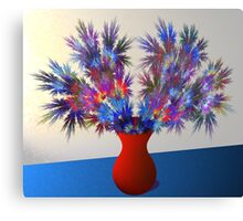 Vase of fractal flowers Canvas Print