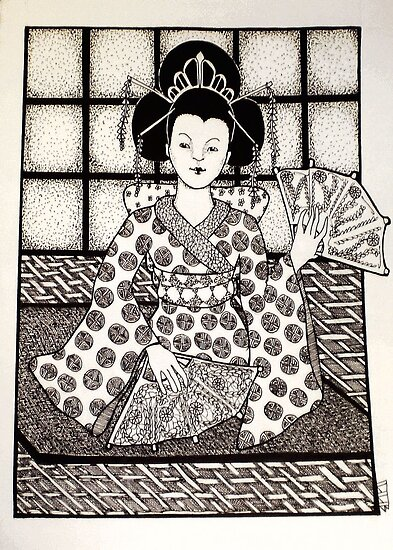 Geisha in Black and White by Lenora Brown