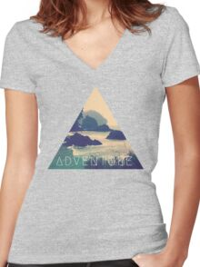 Wanderlust Beach Boho Typography Adventure Print Women's Fitted V-Neck T-Shirt