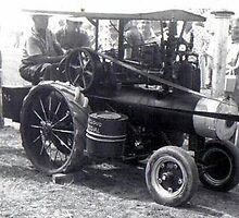 My grandfather with his homemade steam engine by Samohsong