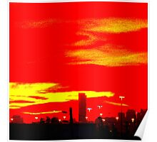 Red Skyline Poster