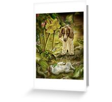Welsh Springer spaniel and puppy splish-splash! Greeting Card