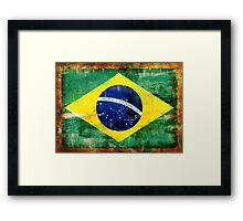 Brazil old painted flag Framed Print