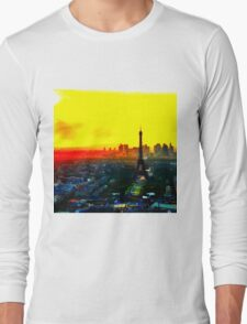 Eiffel Tower in Yellow Long Sleeve T-Shirt