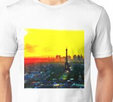 Eiffel Tower in Yellow Unisex T-Shirt