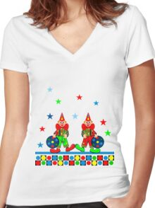 Twin Clowns Women's Fitted V-Neck T-Shirt