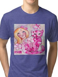 Girl with Pink Cat Tri-blend T-Shirt