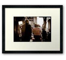 Daddy, that man's taking a picture of us... Framed Print