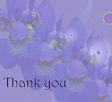 Thank you Greeting Card - Irises in Purple by MotherNature