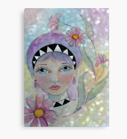 Whimiscal Girl with Purple Hair Canvas Print