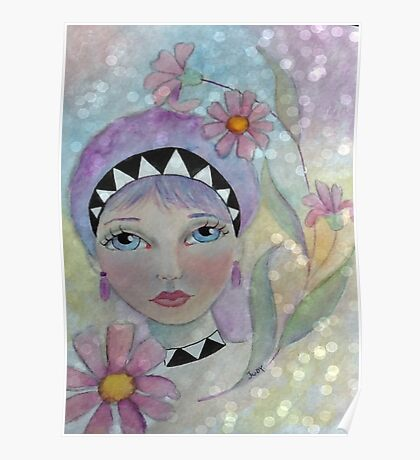 Whimiscal Girl with Purple Hair Poster