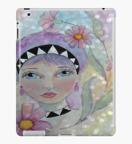 Whimiscal Girl with Purple Hair iPad Case/Skin