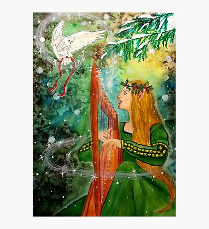 Gifts Give, Gifts Returned - Elf Maiden Harp Player Photographic Print