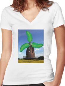 Banana Windmill Women's Fitted V-Neck T-Shirt