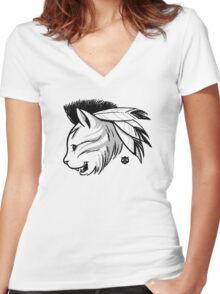 Last of the Meowhicans Women's Fitted V-Neck T-Shirt