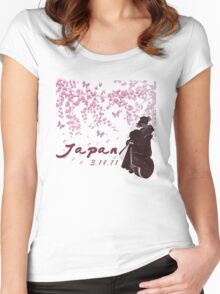 Japan Earthquake Tsunami Relief Cherry Blossoms Dark T-Shirt Women's Fitted Scoop T-Shirt