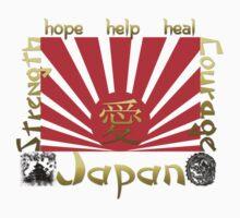 Japan Earthquake Tsunami Relief Rising Sun T-Shirt by Lallinda
