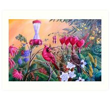 Cardinals and Blooms- Spring Oasis Art Print