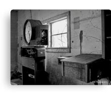 Old Weigh Scale in abandoned Farmer's Market shed Canvas Print