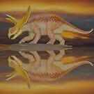 triceratops sunset by Rodney55