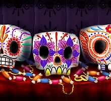 Sugar Skull Trio by Michael Bombon