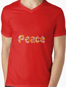 """Floral """"Peace"""" Design Mens V-Neck T-Shirt"""