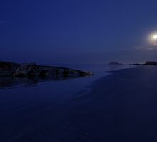 Moonset on Carpenters Coast by Robert Mullner
