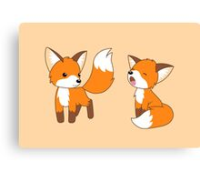 Cute Little Foxes Canvas Print