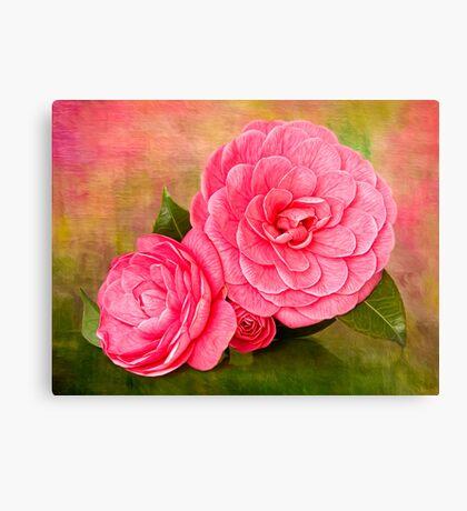 Painterly Camellias Canvas Print