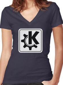 KoquerorWhiteIcon Women's Fitted V-Neck T-Shirt