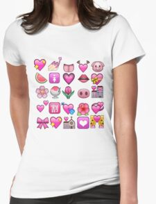 Pink Emojis Womens Fitted T-Shirt