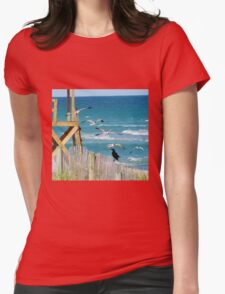 Black Bird And Seagulls Womens Fitted T-Shirt