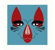 Coyote the Trickster in red, black and white Art Print