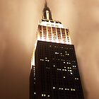 Empire State Building in Fog - New York by Bev Pascoe