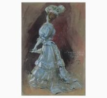 Jules Alexandre Grün An Elegant Lady with a Parasol One Piece - Short Sleeve