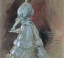 Jules Alexandre Grün An Elegant Lady with a Parasol by wetdryvac