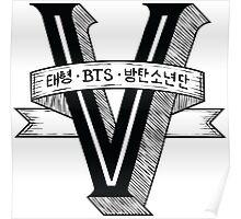 V - BTS Member Logo Series (Black) Poster