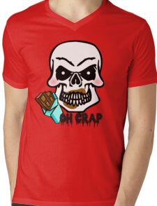 Funny oh crap embarrassed Halloween candy skeleton Mens V-Neck T-Shirt