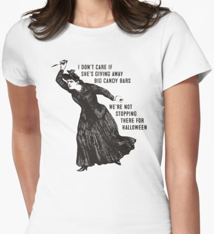 Funny Halloween witch hag big candy bars Womens Fitted T-Shirt