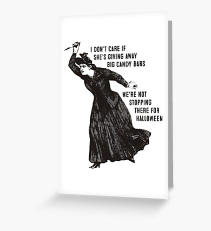 Funny Halloween witch hag big candy bars Greeting Card