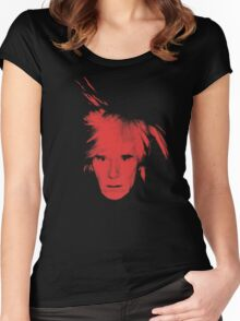 Andy Warhol Self Portrait (Red) Women's Fitted Scoop T-Shirt