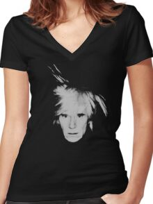 Andy Warhol Self Portrait Women's Fitted V-Neck T-Shirt